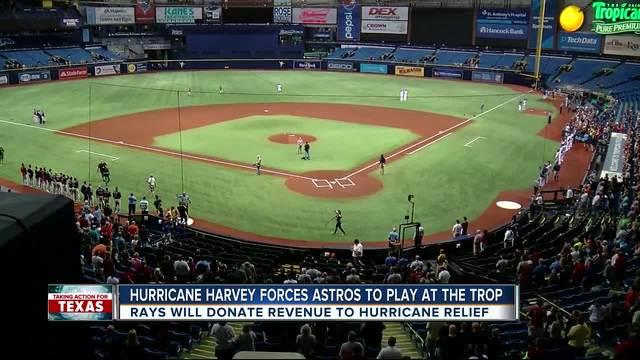 tropicana field hosts astros in wake of hurricane harvey