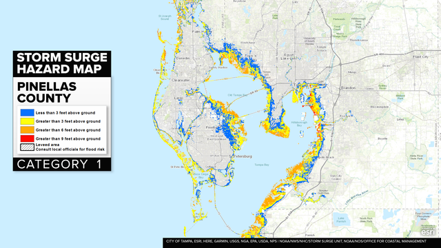 HURRICANE IRMA Bay Area Storm Surge Maps Gallery - Bay area county map