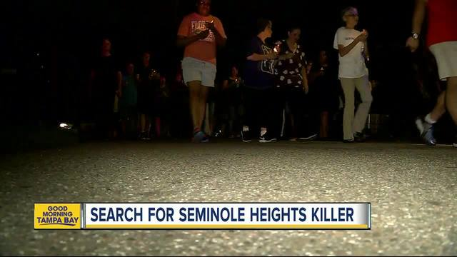 Law enforcement officers search for Seminole Heights killer