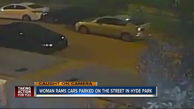 Surveillance Video Shows Woman Hitting Parked Cars In Hyde Park