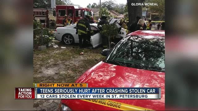 Teens seriously hurt after crashing stolen car