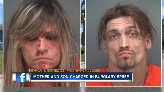 Mother and son charged in burglary spree