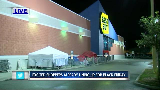 Tents are up at Best Buy on N. Dale Mabry Highway & Tampa Black Friday shopper saved spot in line at Best Buy on ...