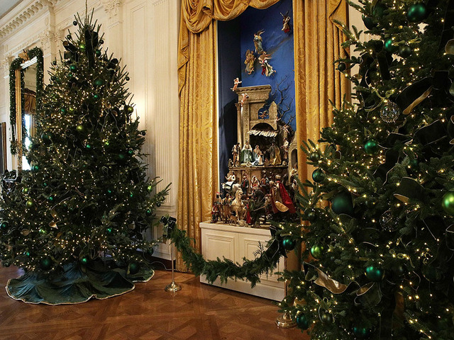 washington dc november 27 the white house creche is on display in the east room at the white house during a press preview of the 2017 holiday - 2017 White House Christmas Decorations