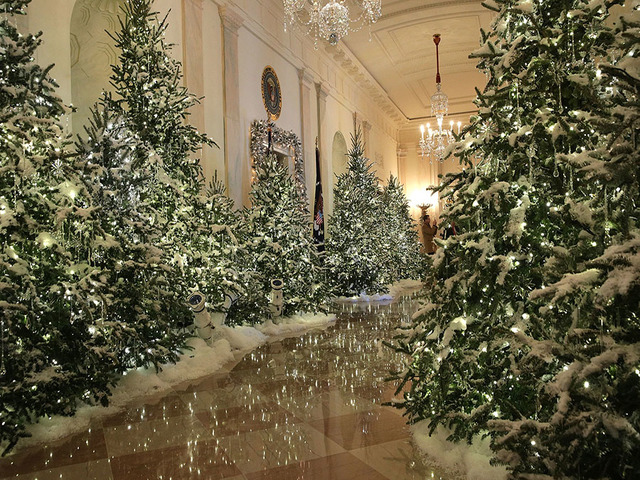 washington dc november 27 the cross hall at the white house during a press preview of the 2017 holiday decorations november 27 2017 in washington dc