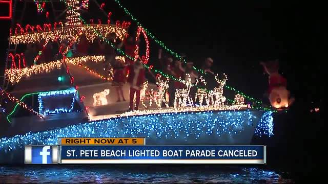 st pete beach and south pasadena lighted boat parade canceled for inclement weather