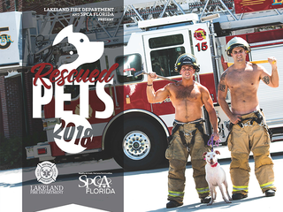 Firefighters pose with rescued pets for calendar
