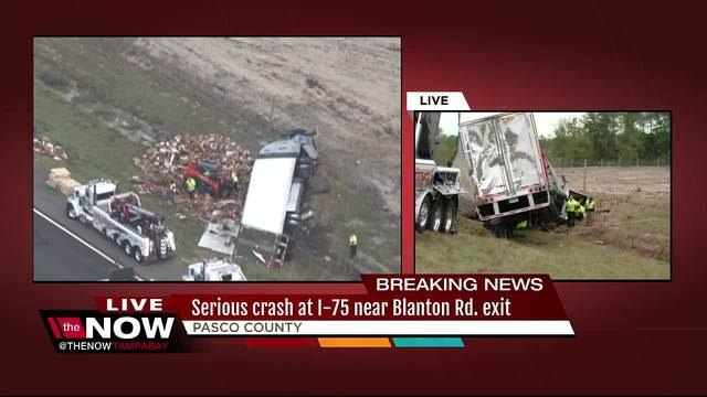 Major crash shuts down two northbound lanes on I-75 in Pasco County