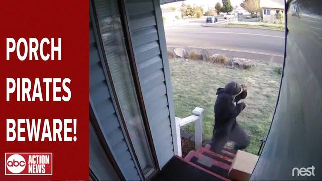Exploding -Blank Box- scares away porch pirates by using a decoy box