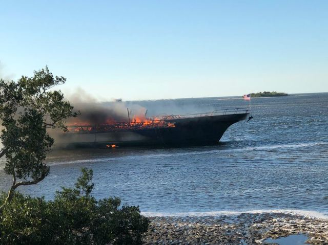 Boat catches fire in Florida