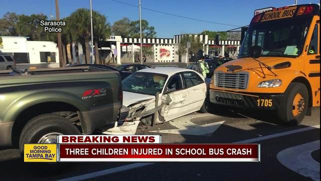 3 children taken to hospital after Sarasota school bus crash