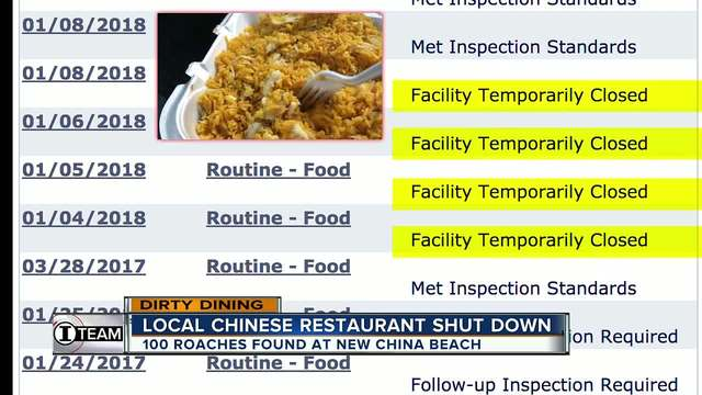 Dirty Dining- New China Beach shut down for 5 days due to 130- roaches…
