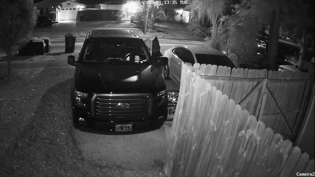 Home surveillance camera catches thief stealing gun from truck