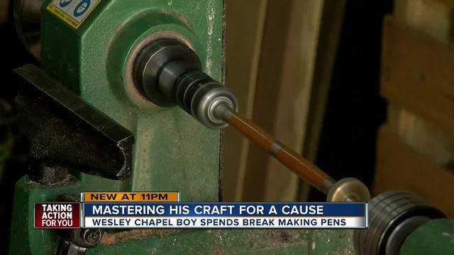 11-year-old Wesley Chapel boy makes handcrafted wood pens to help veterans
