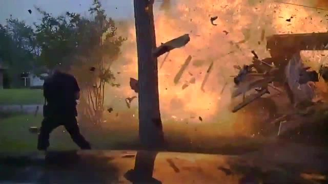 Newly released dash cam video shows the exact moment a house in Texas explodes after a car drove into a home hitting a gas line
