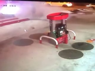 Video shows car miss gas pump by inches