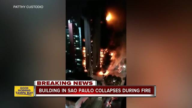 Massive apartment building fire in Brazil kills one as building collapses