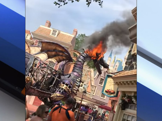 Fire-breathing Disney dragon bursts into flames during parade