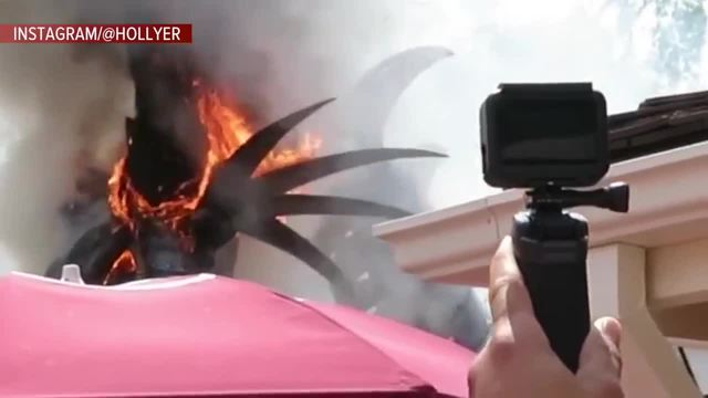 Float in Disney's Festival of Fantasy Parade catches fire