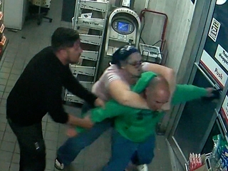 Gas station manager, customer stop shoplifter