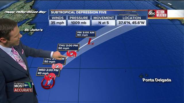 Subtropical Depression Five Forms - Tracking the Tropics