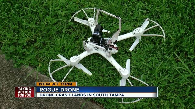 Drone mysteriously crash lands in S- Tampa yard