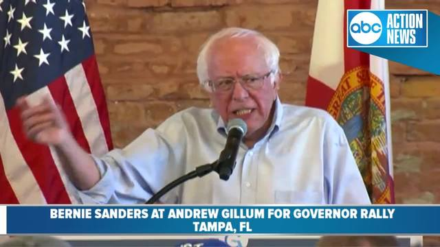 U-S- Senator Bernie Sanders speaks at Andrew Gillum-s rally for governor