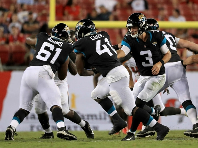 TAMPA, FL: Tanner Lee Hands Off To Tim Cook Of The Jacksonville Jaguars  During A Preseason Game At Raymond James Stadium On August 30, 2018 In  Tampa, ...