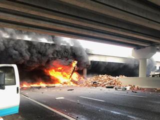 PHOTOS | Fiery crash involving semi closes I-75