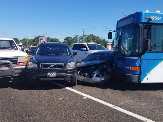 Crash involving bus, seven cars shuts down US-19
