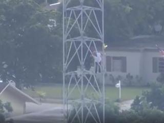 Florida man climbs up cellphone tower
