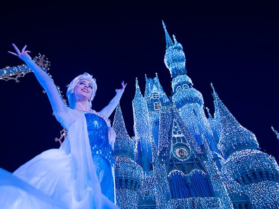 a frozen holiday wish disney world lights up castle at magic kingdom with frozen characters abcactionnewscom wfts tv - Disney World Christmas Lights