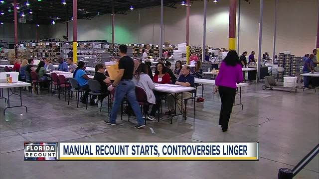 Manual recount starts- controversies linger in Florida recount