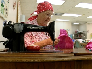Seamstress comforts cancer patients by sewing
